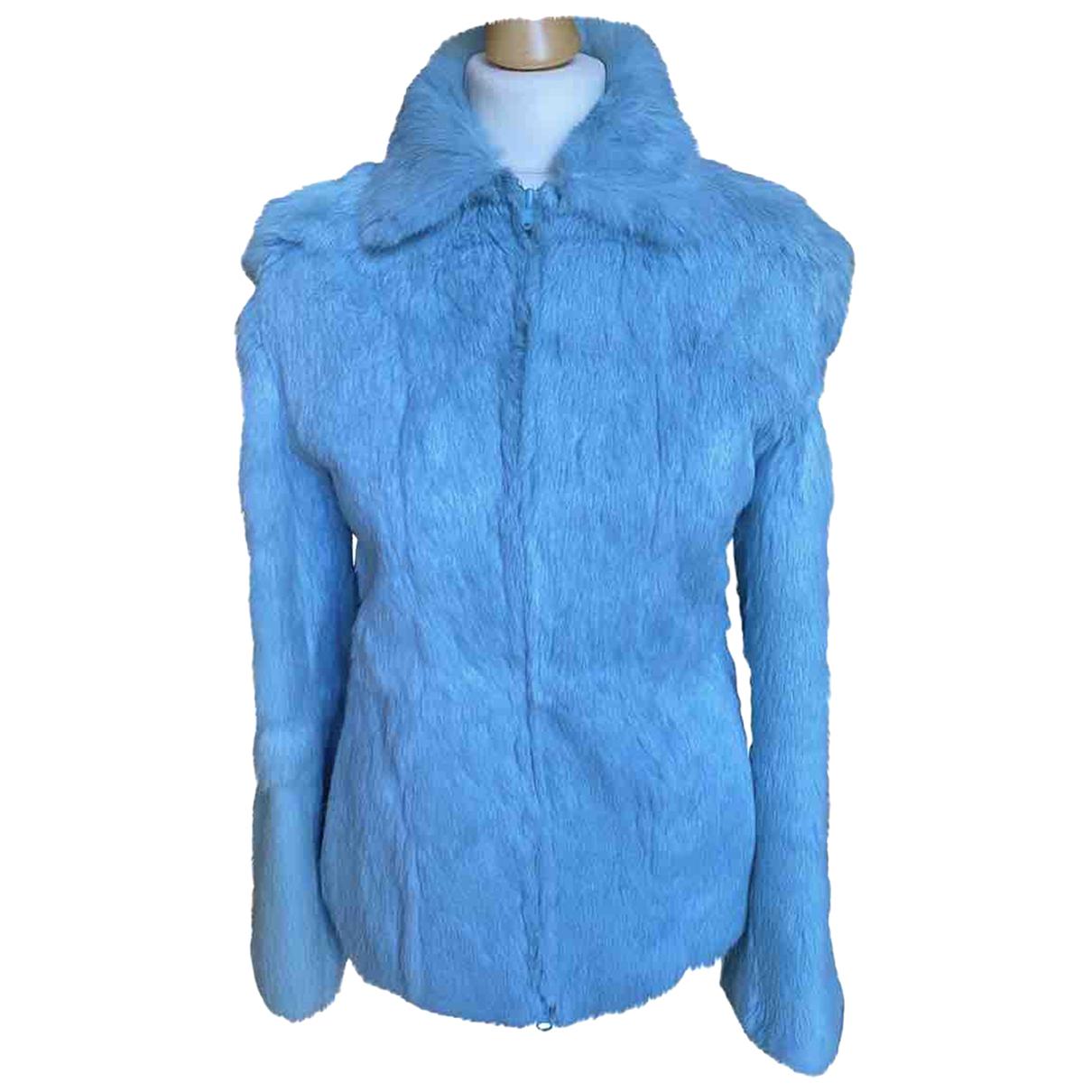 - Veste   pour femme en lapin - turquoise