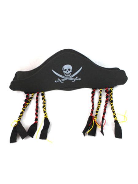 Milanoo Halloween Black Printed Pirate Hat For Men With Fringe Halloween
