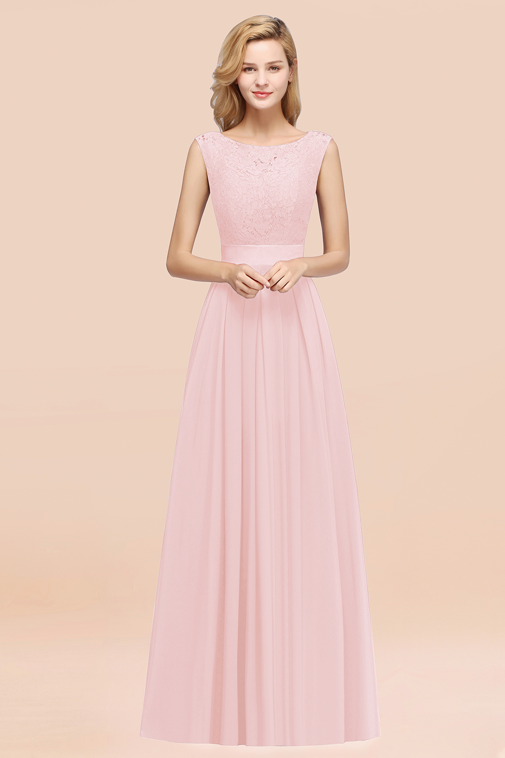 BMbridal Vintage Sleeveless Lace Bridesmaid Dresses Affordable Chiffon Wedding Party Dress Online