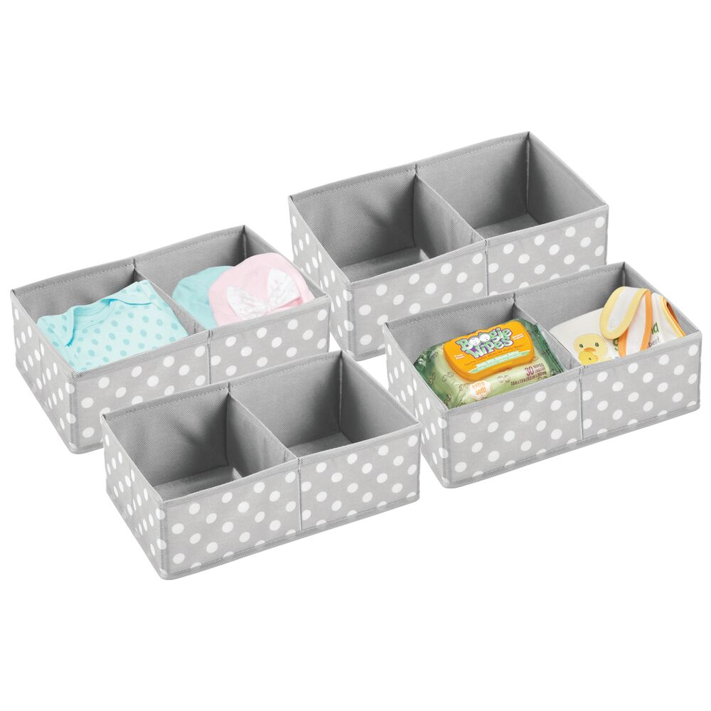 Baby + Kids Polka Dot Fabric Organizer Bin in Gray/White, Set of 4, by mDesign
