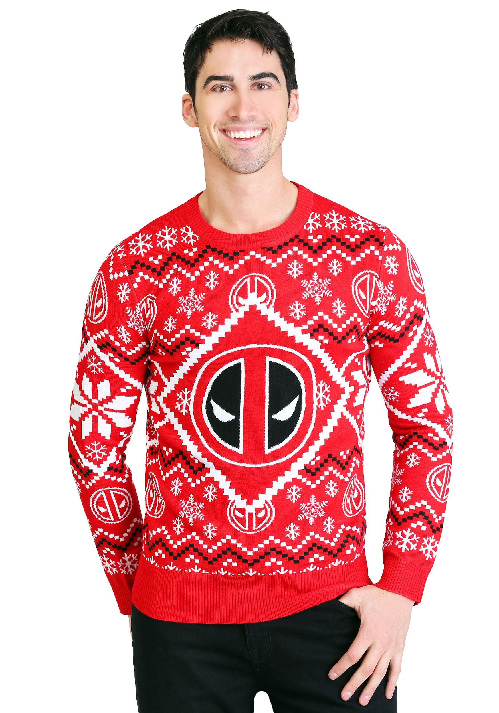 Deadpool Icon Red/White Intarsia Knit Ugly Christmas Sweater
