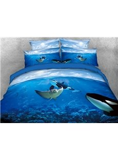 Manta Ray and Orcas in Ocean 3D 4-Piece Bedding Sets/Duvet Covers