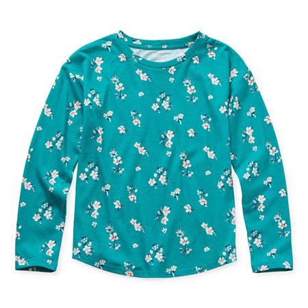 Arizona Little & Big Girls Round Neck Long Sleeve Graphic T-Shirt, X-large (16) , Green