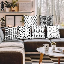 1pc Geometric Pattern Cushion Cover Without Filler