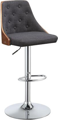 Camila Collection 96750 Adjustable Bar Stool with Chrome Metal Footrest Ring  Swivel Seat  Pedestal Base  Grey Linen Upholstery and Curved Wooden