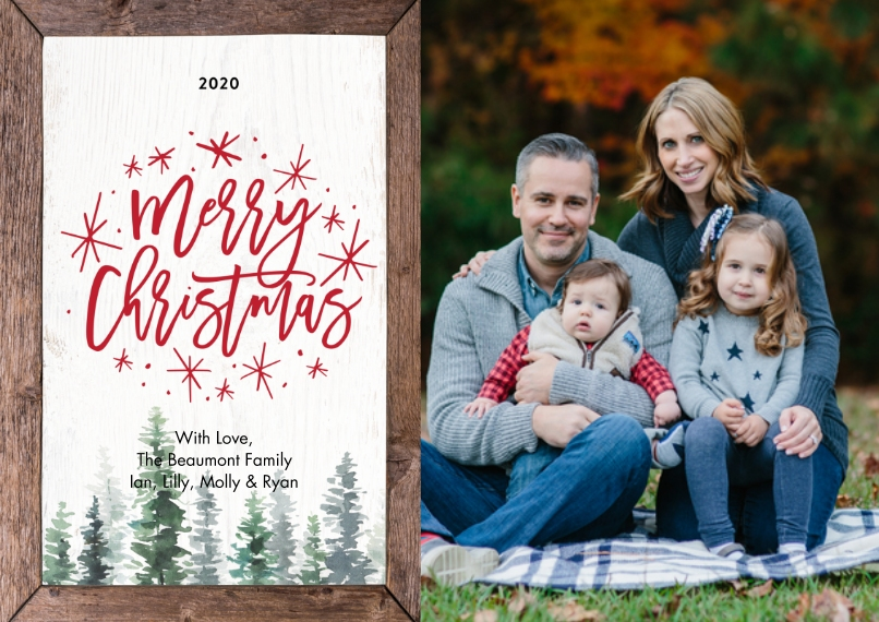 Christmas Photo Cards Flat Glossy Photo Paper Cards with Envelopes, 5x7, Card & Stationery -2020 Christmas Evergreens by Tumbalina