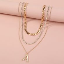 3pcs Rhinestone & Letter Decor Chain Necklace