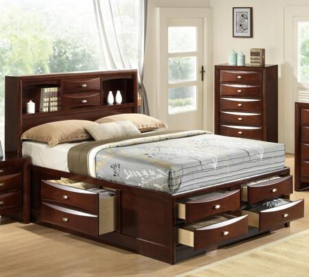 Emily Collection EM1551-Q Queen Size Storage Bed with Bookshelf  2 Drawers in Headboard  4 Drawers in Footboard  1 Drawer on each Side Rail  Tropical