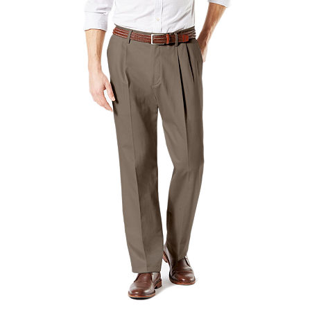 Dockers Big & Tall Classic Fit Signature Khaki Lux Cotton Stretch Pants - Pleated D3, 38 36, Brown