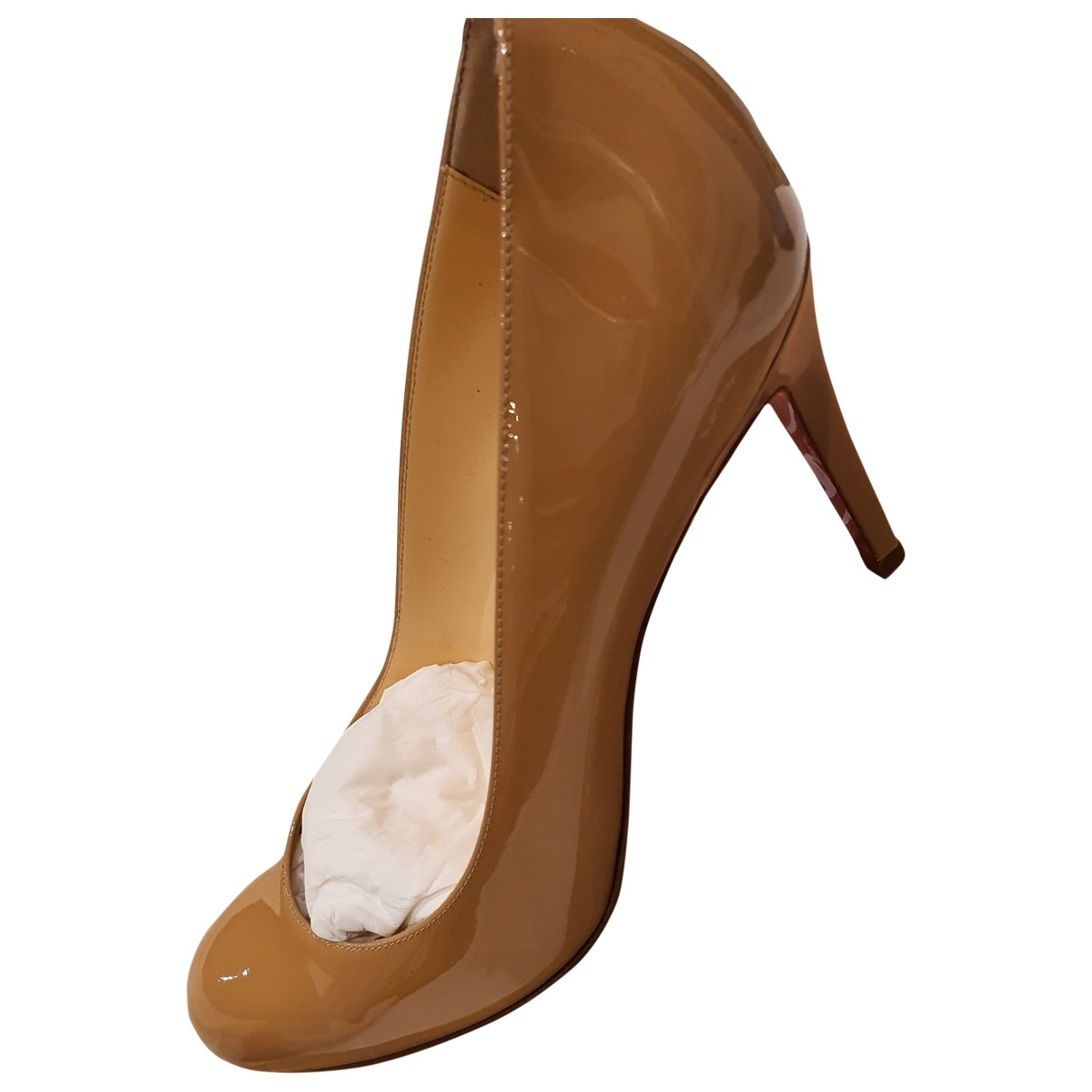Christian Louboutin Simple pump Beige Patent leather Heels for Women 38 EU