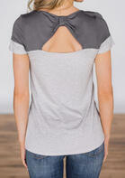 Striped Splicing Hollow Out T-Shirt Tee without Necklace - Gray