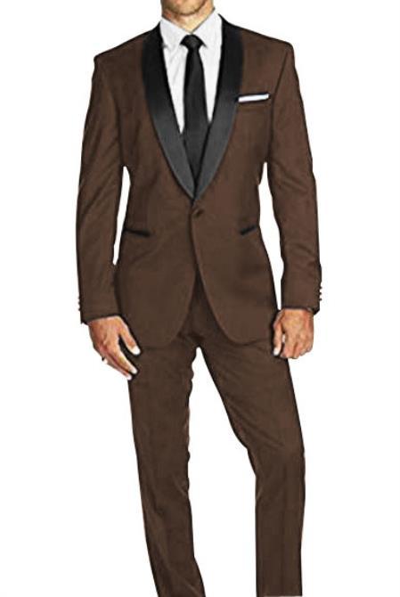 Braveman Mens SlimFit 1Button Satin Shawl Lapel Dark Brown Tuxedo Suit