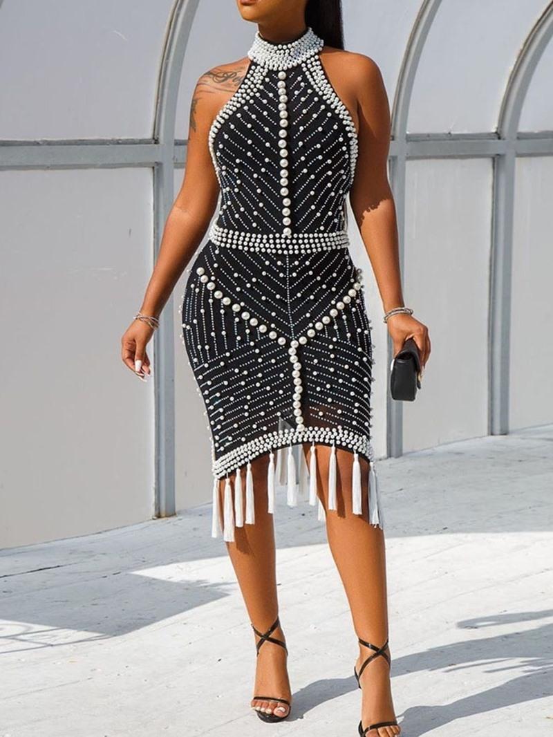 Ericdress Sleeveless Bead Knee-Length Mid Waist Dress