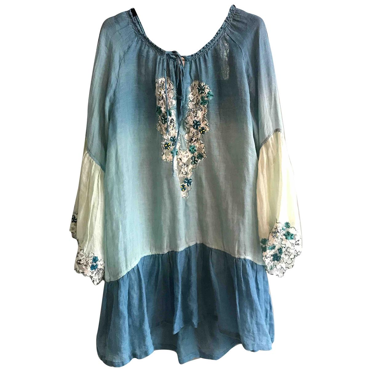 Emamo - Robe   pour femme en lin - bleu