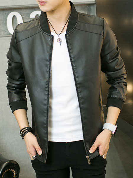 Milanoo Men Leather Jacket Zip Up Slim Fit Black Short Bomber Jacket