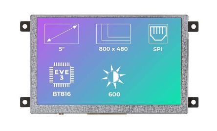 Riverdi RVT50AQBFWN00 TFT LCD Colour Display / Touch Screen, 5in, 800 x 480