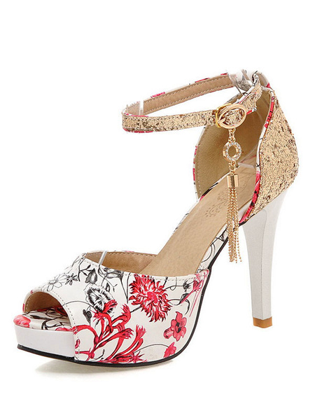 Milanoo High Heel Sandals Womens Floral Print Sequined Peep Toe Ankle Strap Stiletto Heels Sandals