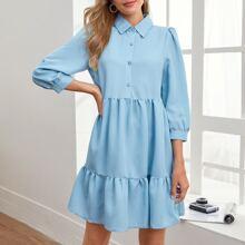Denim Kleid mit halber Knopfleiste und Rueschenbesatz