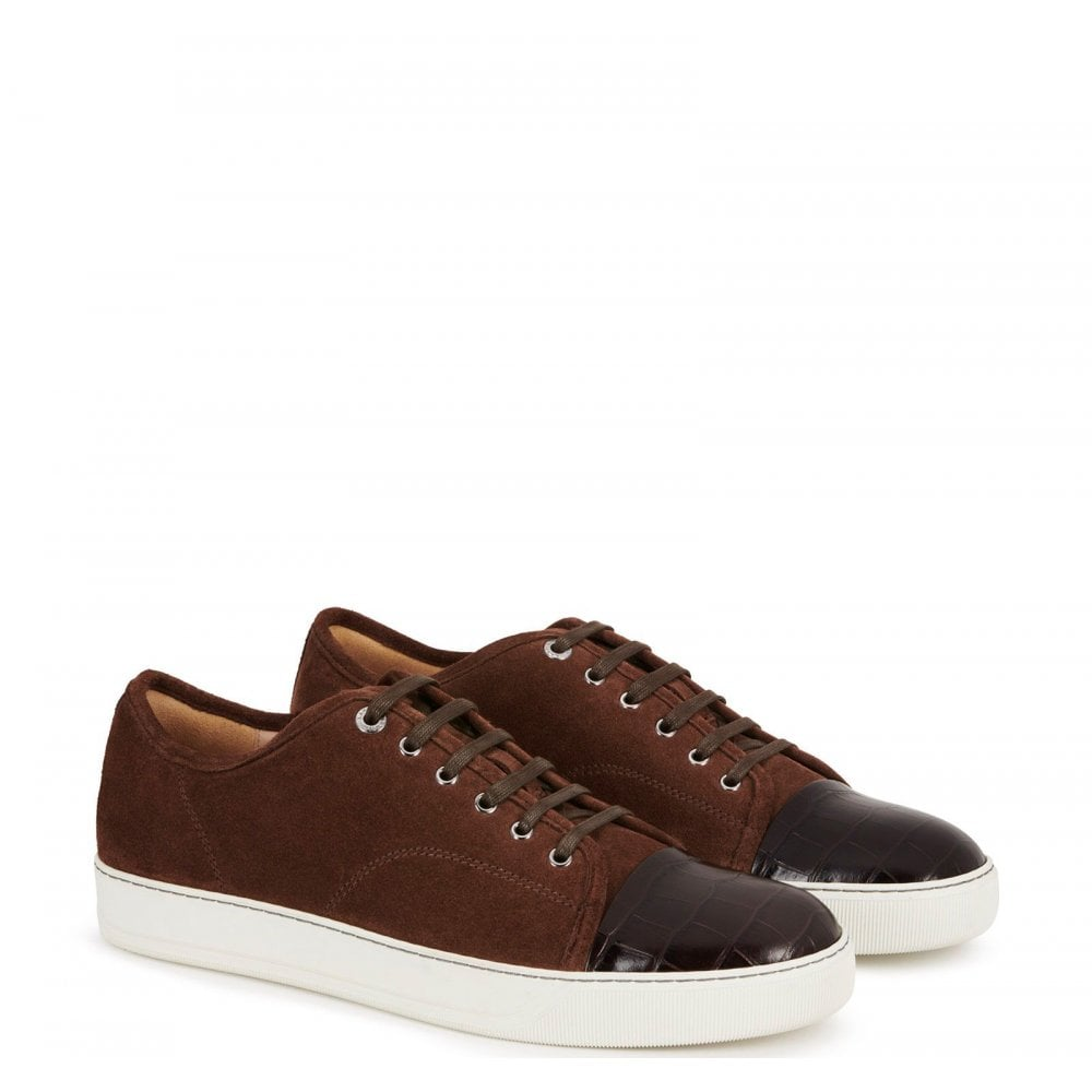Lanvin Dbbi Suede Calfskin Sneaker Colour: BROWN, Size: 8