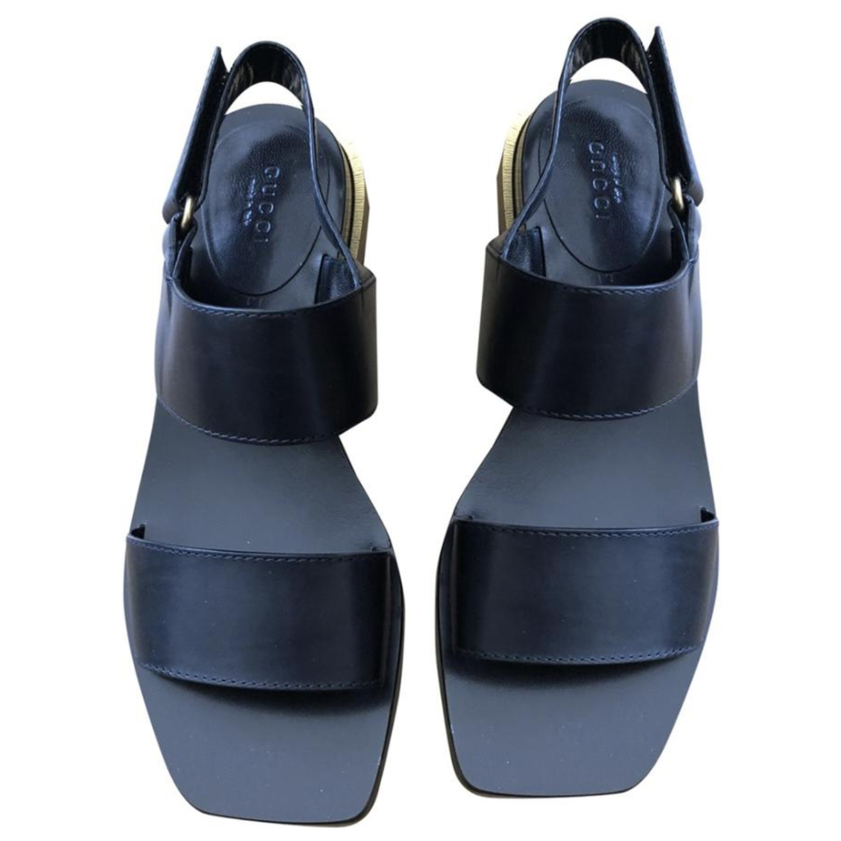 Gucci \N Black Leather Sandals for Women 37.5 IT