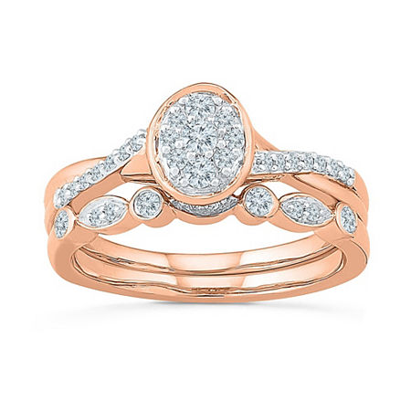 Womens 1/3 CT. T.W. Genuine White Diamond 10K Rose Gold Bridal Set, 6 , No Color Family
