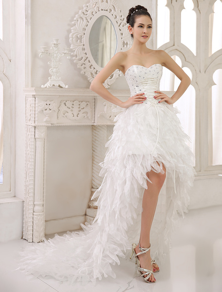 Milanoo Ivory A-line Strapless Sweetheart Neck Tiered Asymmetrical Bridal Wedding Gown