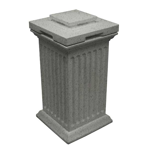 Good Ideas Savannah Column Storage and Waste Bin, 30 Gallon, Light Granite