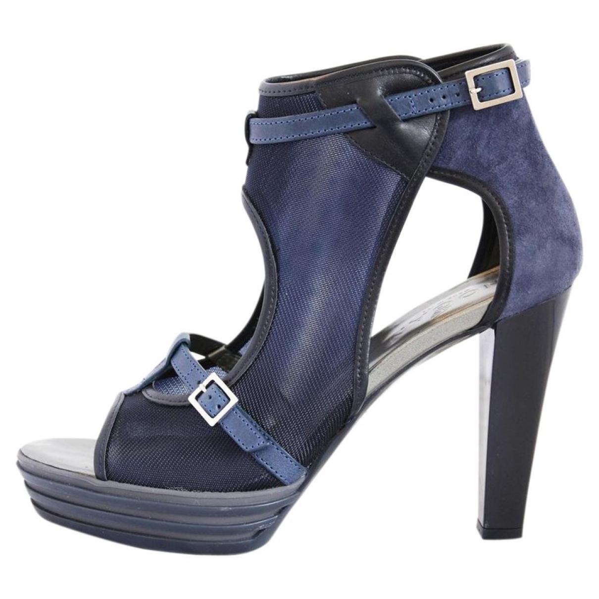 Hogan - Sandales   pour femme en cuir - bleu
