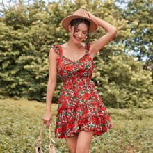 Floral Print Tied Open Back Tiered Dress