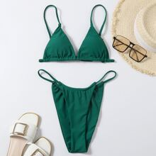 Dreieckiger Bikini Badeanzug mit Tanga
