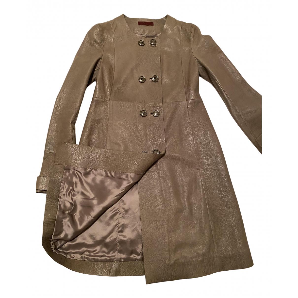 Uterque - Manteau   pour femme en cuir exotique - gris