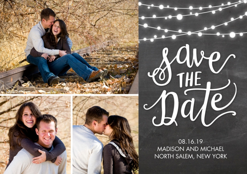 Save the Date 5x7 Cards, Standard Cardstock 85lb, Card & Stationery -Save the Date String of Lights by Tumbalina