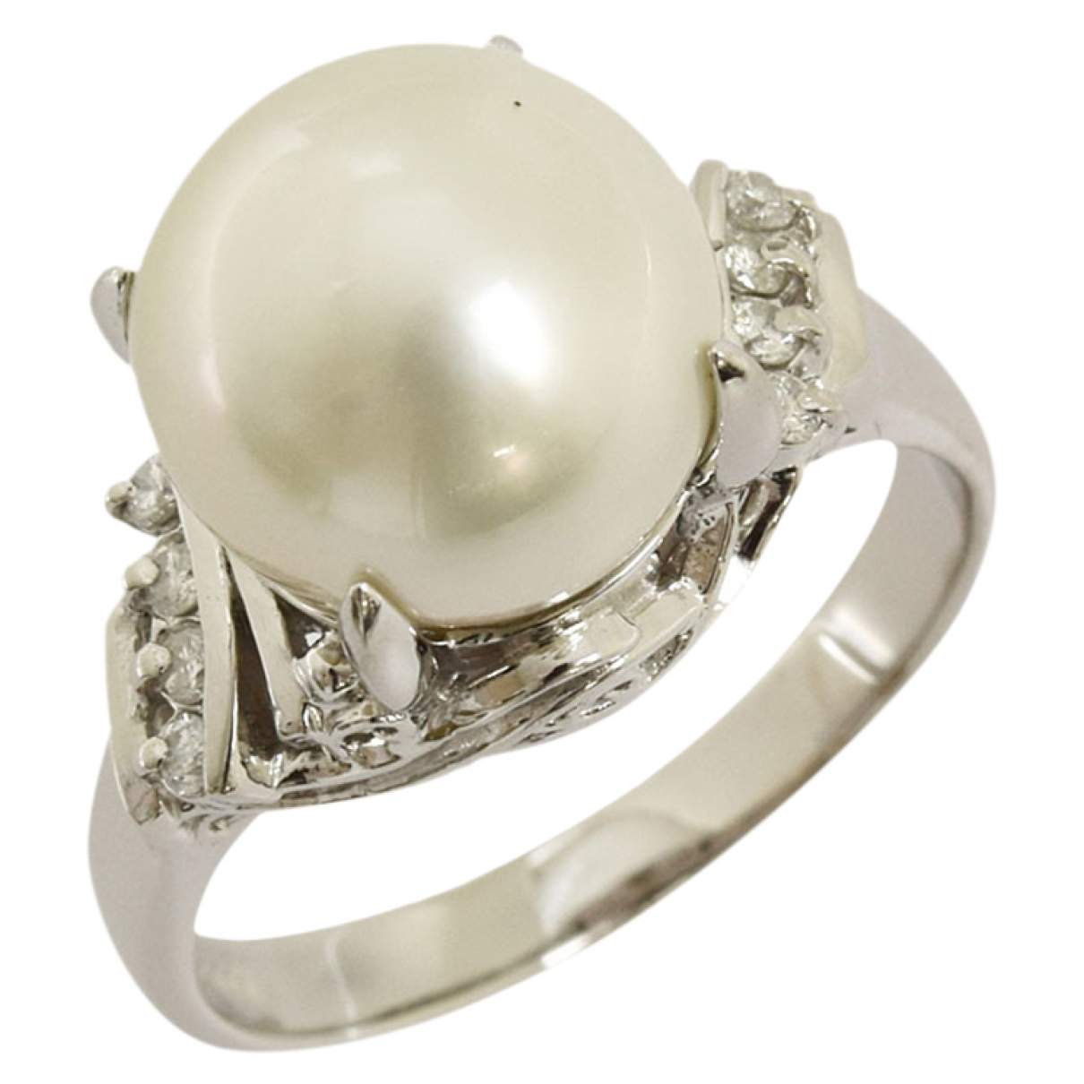Non Signé / Unsigned \N Grey Pearl ring for Women \N