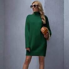 Einfarbiges Pullover Kleid mit hohem Kragen und sehr tief angesetzter Schulterpartie