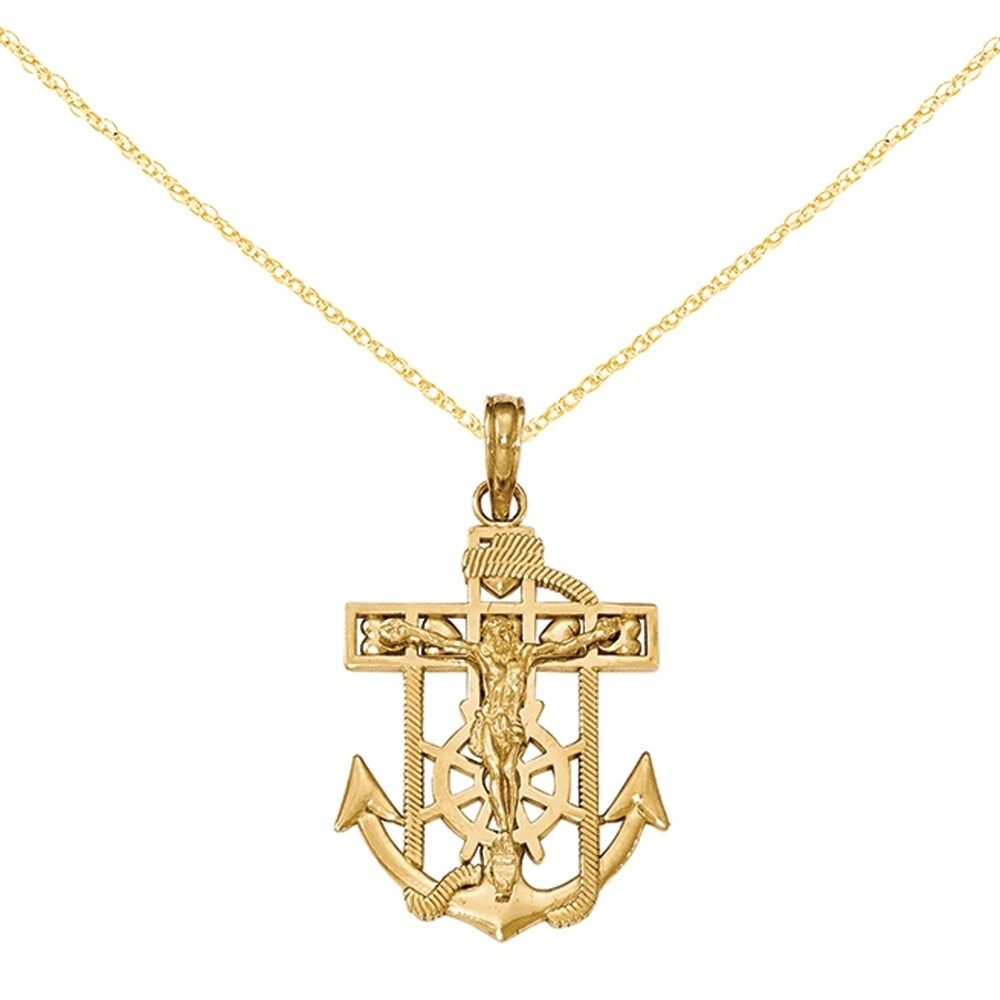 14K Yellow Gold Polished and Textured Mini Mariners Crucifix Pendant with 18-inch Cable Rope Chain by Versil (Yellow - 18 Inch)