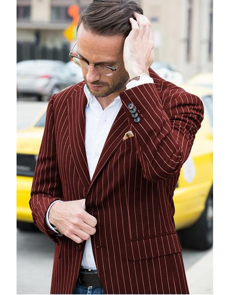 Mens Gangster 1920s Mens Blazer With Bold Chalk Pinstripe Burgundy