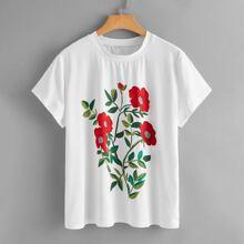 Plus Floral Print Short Sleeve Tee