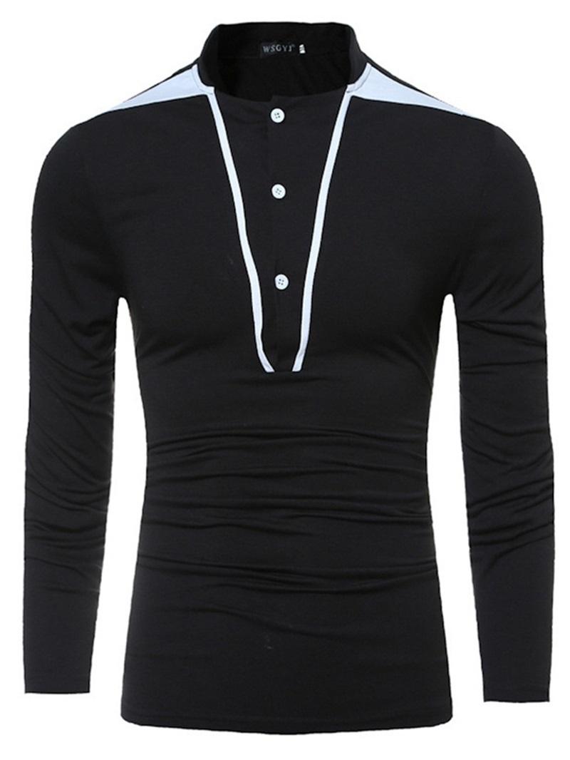 Ericdress Stand Collar Patchwork Casual Long Sleeve Men's Slim T-shirt