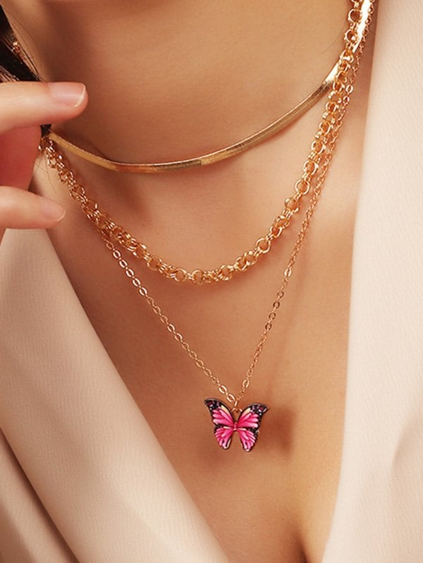 Butterfly Pendant Herringbone Chain Layered Necklace