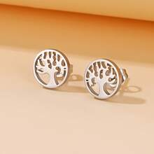 Hollow Out Tree Design Stud Earrings