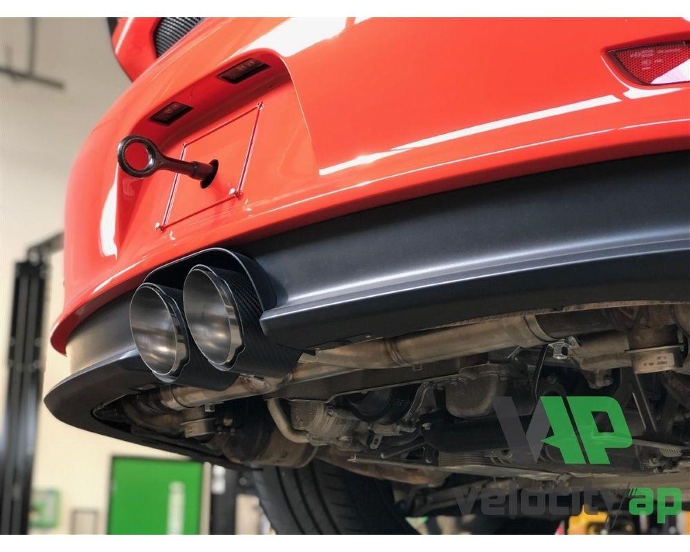 VelocityAP VEL-PORSCHEGT3XPIPE-25170D X-Pipe Muffler Exhaust w/ Carbon Non Rolled Tip Porsche GT3