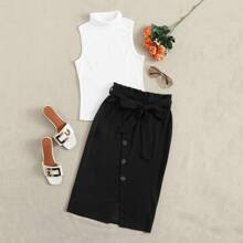 Turtle Neck Tank Top & Paperbag Waist Buttoned Wrap Skirt Set