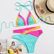 Color Block Triangle Bikini Swimsuit