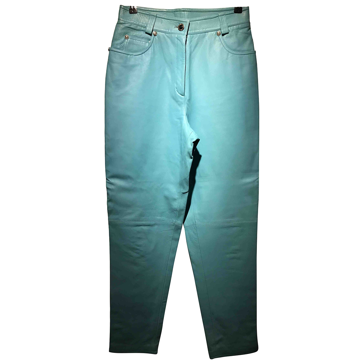 Versace \N Turquoise Leather Trousers for Women 44 IT