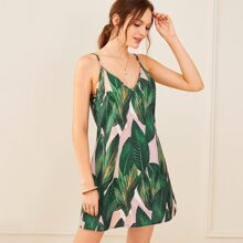 Kleid mit Blatt Muster