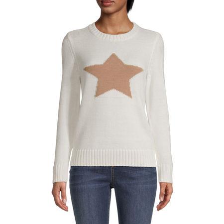 St. John's Bay Womens Crew Neck Long Sleeve Pullover Sweater, Petite Large , White
