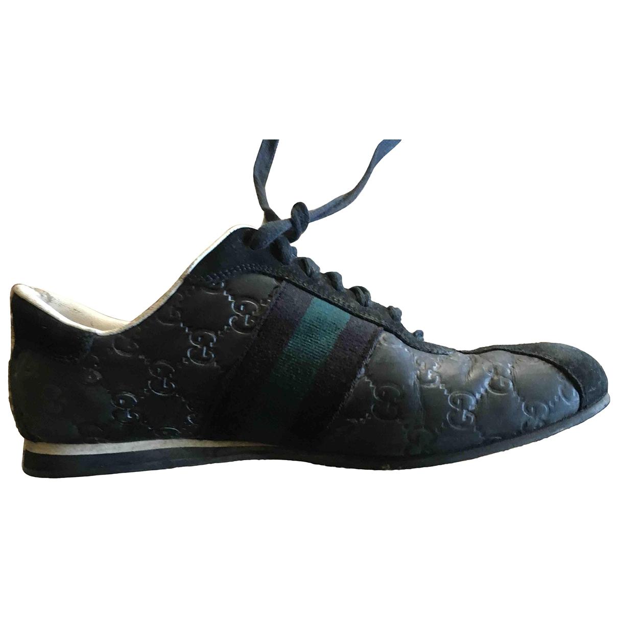 Gucci - Baskets Web pour homme en cuir - noir