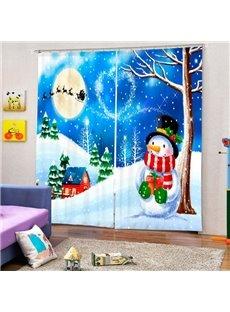 Cartoon Snowman under the Tree in Snowy Weather Christmas Theme Custom 3D Curtain