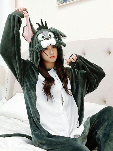 Milanoo Pijamas Kigurumi Tom y Jerry Onesie adultos Unisex franela invierno ropa de dormir disfraz Cosplay Halloween