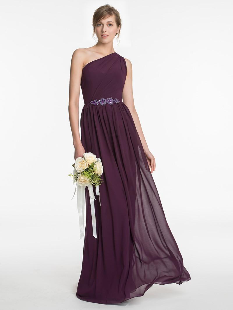 Ericdress Beautiful Beading One Shoulder A Line Long Bridesmaid Dress